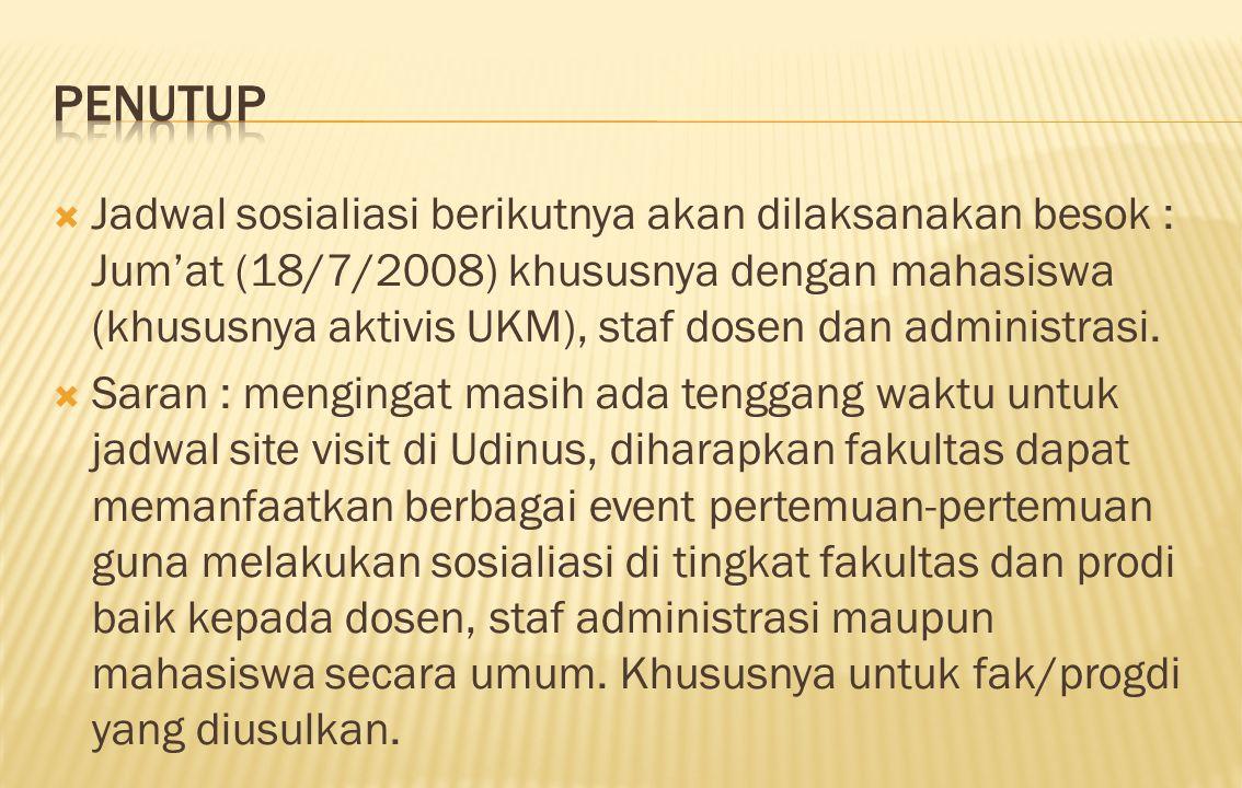  Jadwal sosialiasi berikutnya akan dilaksanakan besok : Jum'at (18/7/2008) khususnya dengan mahasiswa (khususnya aktivis UKM), staf dosen dan adminis