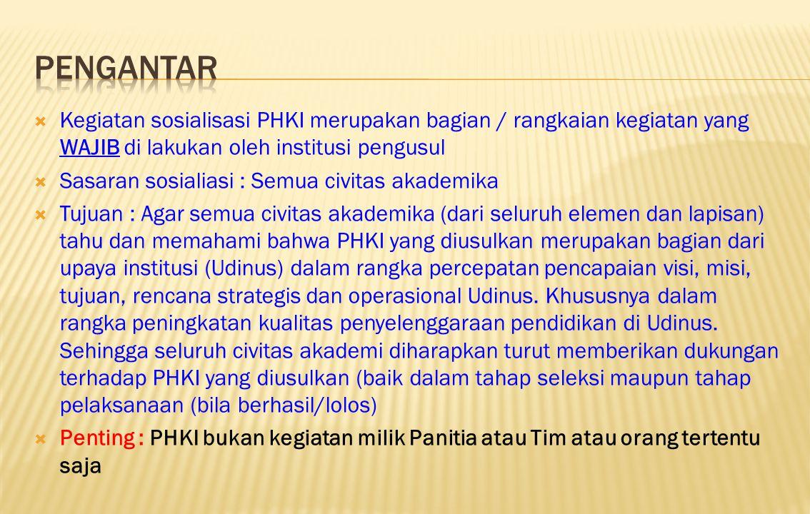  Kegiatan sosialisasi PHKI merupakan bagian / rangkaian kegiatan yang WAJIB di lakukan oleh institusi pengusul  Sasaran sosialiasi : Semua civitas a