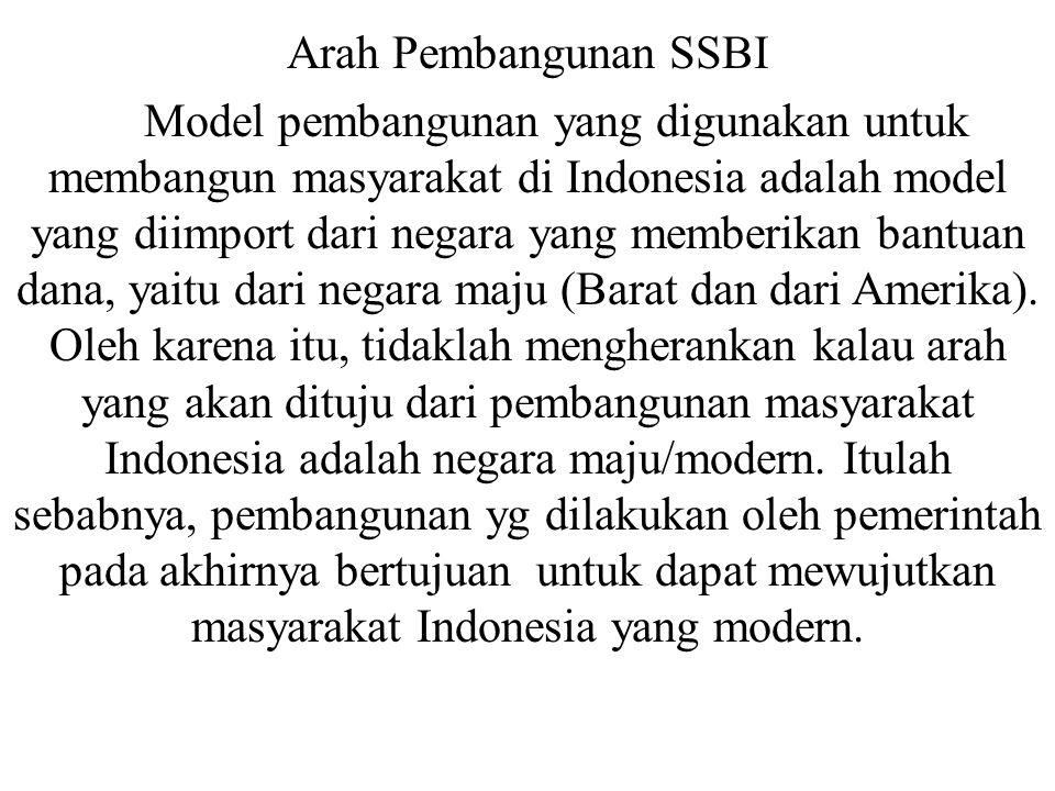 Arah Pembangunan SSBI Model pembangunan yang digunakan untuk membangun masyarakat di Indonesia adalah model yang diimport dari negara yang memberikan
