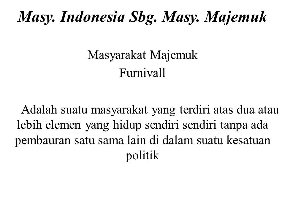 Masy. Indonesia Sbg. Masy. Majemuk Masyarakat Majemuk Furnivall Adalah suatu masyarakat yang terdiri atas dua atau lebih elemen yang hidup sendiri sen
