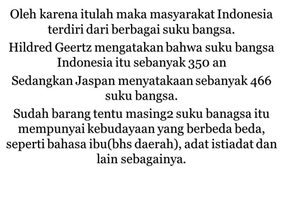 Oleh karena itulah maka masyarakat Indonesia terdiri dari berbagai suku bangsa. Hildred Geertz mengatakan bahwa suku bangsa Indonesia itu sebanyak 350