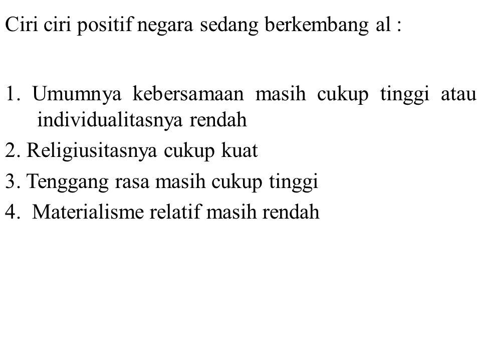 Fungsi ciri ciri yang bersifat negatif a.l ; 1.