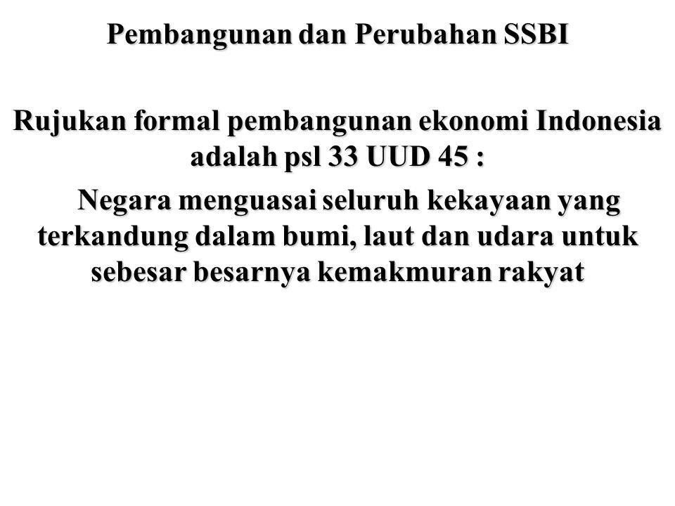 Pembangunan dan Perubahan SSBI Rujukan formal pembangunan ekonomi Indonesia adalah psl 33 UUD 45 : Negara menguasai seluruh kekayaan yang terkandung d