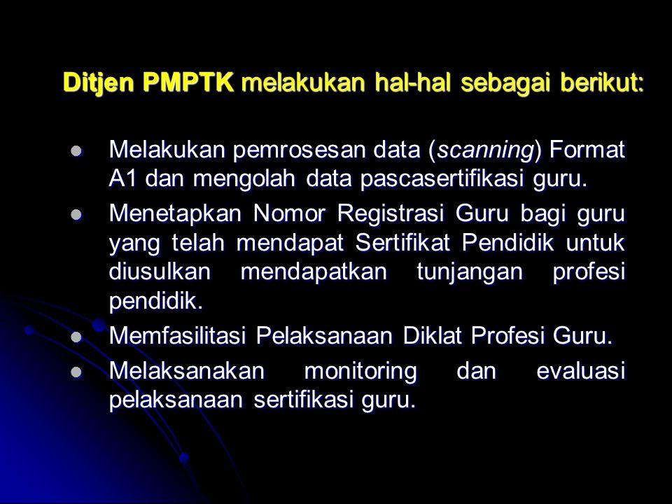 Ditjen PMPTK melakukan hal-hal sebagai berikut: Memfasilitasi dinas pendidikan provinsi dan dinas pendidikan kabupaten/kota dalam menjabarkan rambu-ra