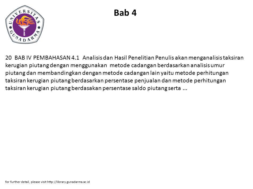 Bab 4 20 BAB IV PEMBAHASAN 4.1 Analisis dan Hasil Penelitian Penulis akan menganalisis taksiran kerugian piutang dengan menggunakan metode cadangan be