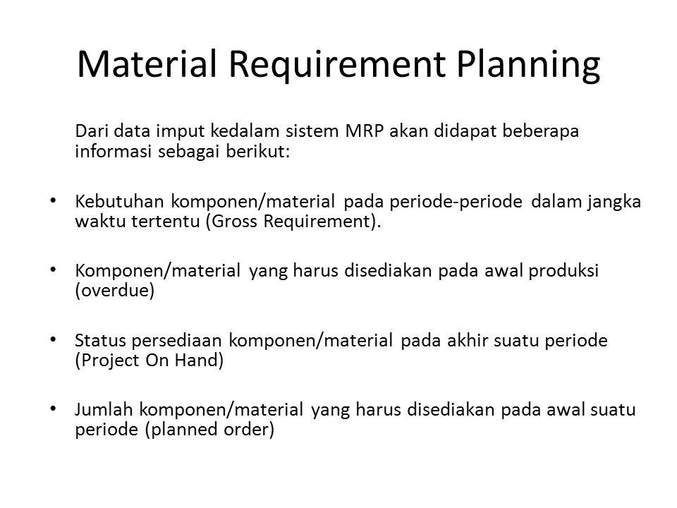 Material Requirement Planning Dari data imput kedalam sistem MRP akan didapat beberapa informasi sebagai berikut: Kebutuhan komponen/material pada per