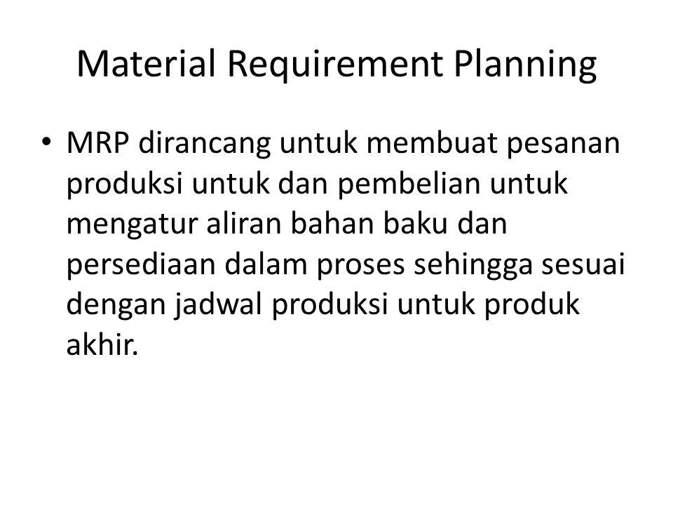 Material Requirement Planning Hal ini memungkinkan perusahaan memelihara tingkat minimum dari item- item yang kebutuhannya dependent, tetapi tetap dapat menjamin terpenuhinya jadwal produksi untuk produk akhirnya.
