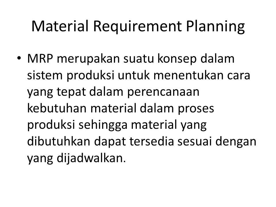Material Requirement Planning MRP merupakan suatu konsep dalam sistem produksi untuk menentukan cara yang tepat dalam perencanaan kebutuhan material d