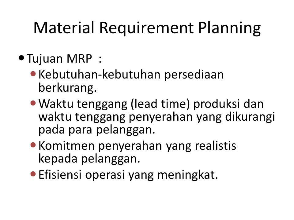 Material Requirement Planning Material Requirement Planning (MRP) bertanggung jawab untuk mengatur aliran material di luar batas-batas workstation dan membantu individu memvisualisasikan dan memahami bagaimana sebuah rantai pasokan harus melihat dan mengukur daya saing.