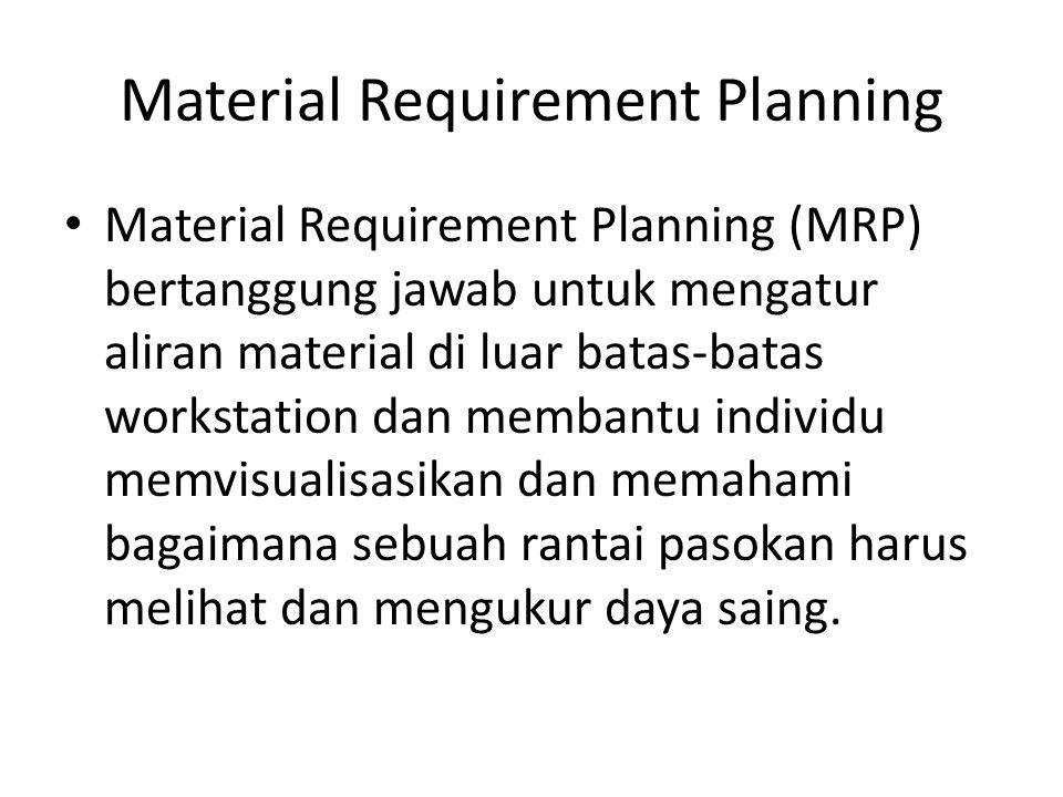 Material Requirement Planning adalah suatu metode untuk menentukan apa, kapan dan berapa jumlah komponen dan material yang dibutuhkan untuk memenuhi kebutuhan dari suatu perencanaan produksi.