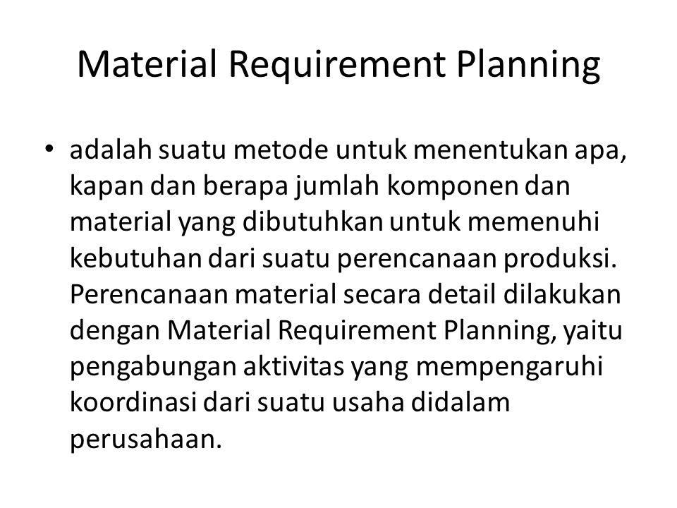 Material Requirement Planning Dari data imput kedalam sistem MRP akan didapat beberapa informasi sebagai berikut: Kebutuhan komponen/material pada periode-periode dalam jangka waktu tertentu (Gross Requirement).