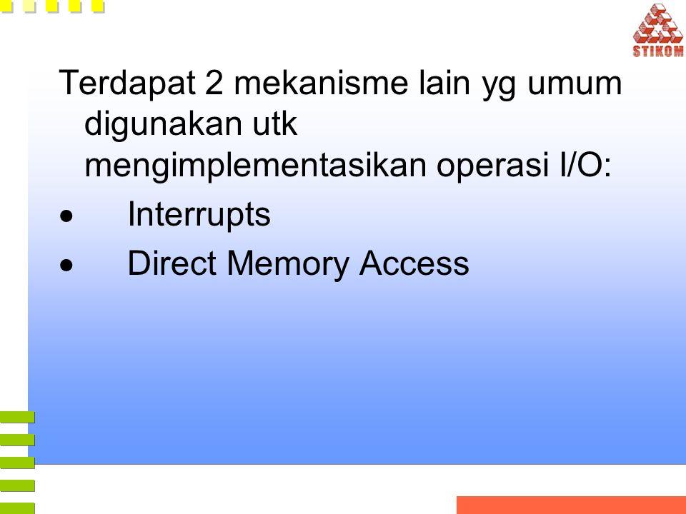 Terdapat 2 mekanisme lain yg umum digunakan utk mengimplementasikan operasi I/O:  Interrupts  Direct Memory Access