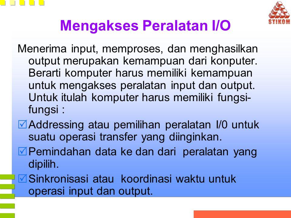 Mengakses Peralatan I/O Menerima input, memproses, dan menghasilkan output merupakan kemampuan dari konputer. Berarti komputer harus memiliki kemampua