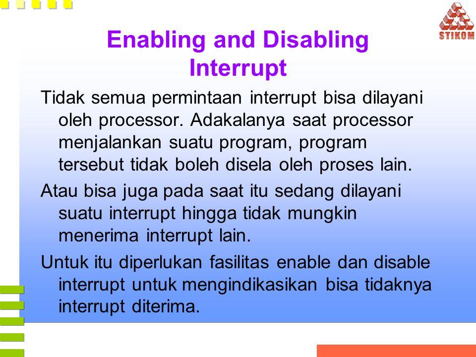Enabling and Disabling Interrupt Tidak semua permintaan interrupt bisa dilayani oleh processor. Adakalanya saat processor menjalankan suatu program, p