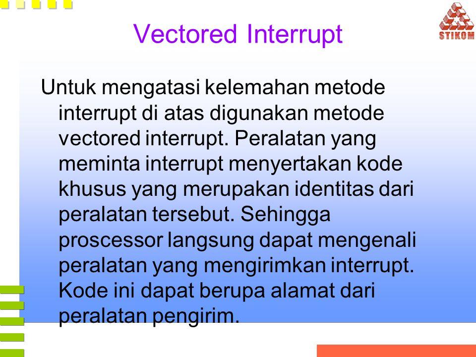 Vectored Interrupt Untuk mengatasi kelemahan metode interrupt di atas digunakan metode vectored interrupt. Peralatan yang meminta interrupt menyertaka