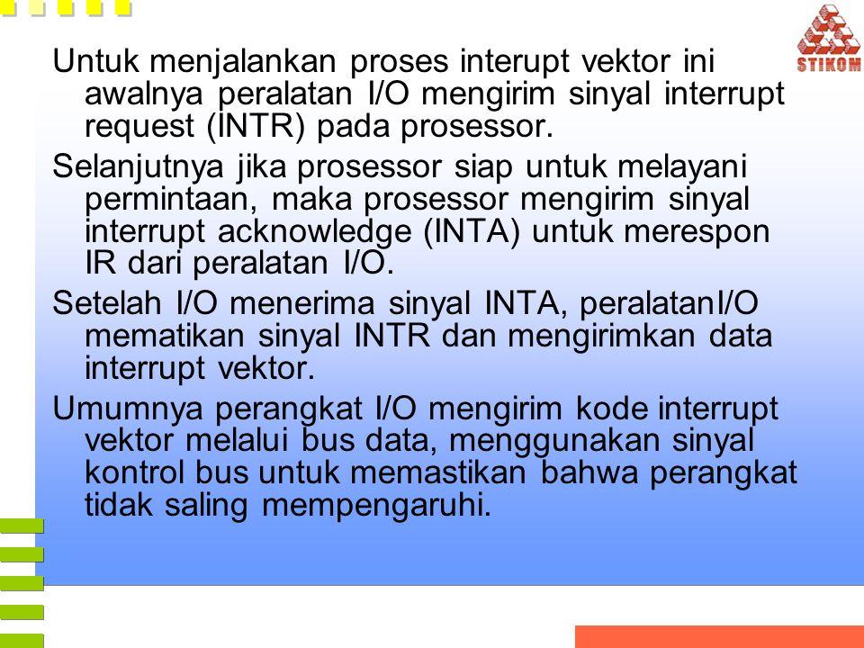 Untuk menjalankan proses interupt vektor ini awalnya peralatan I/O mengirim sinyal interrupt request (INTR) pada prosessor. Selanjutnya jika prosessor