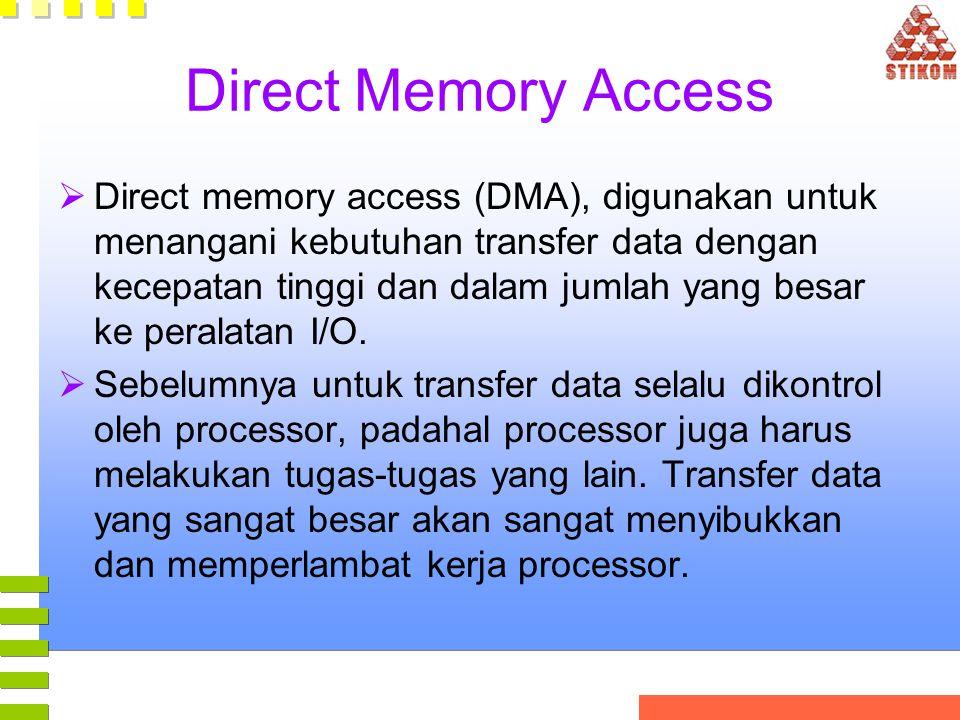 Direct Memory Access  Direct memory access (DMA), digunakan untuk menangani kebutuhan transfer data dengan kecepatan tinggi dan dalam jumlah yang bes