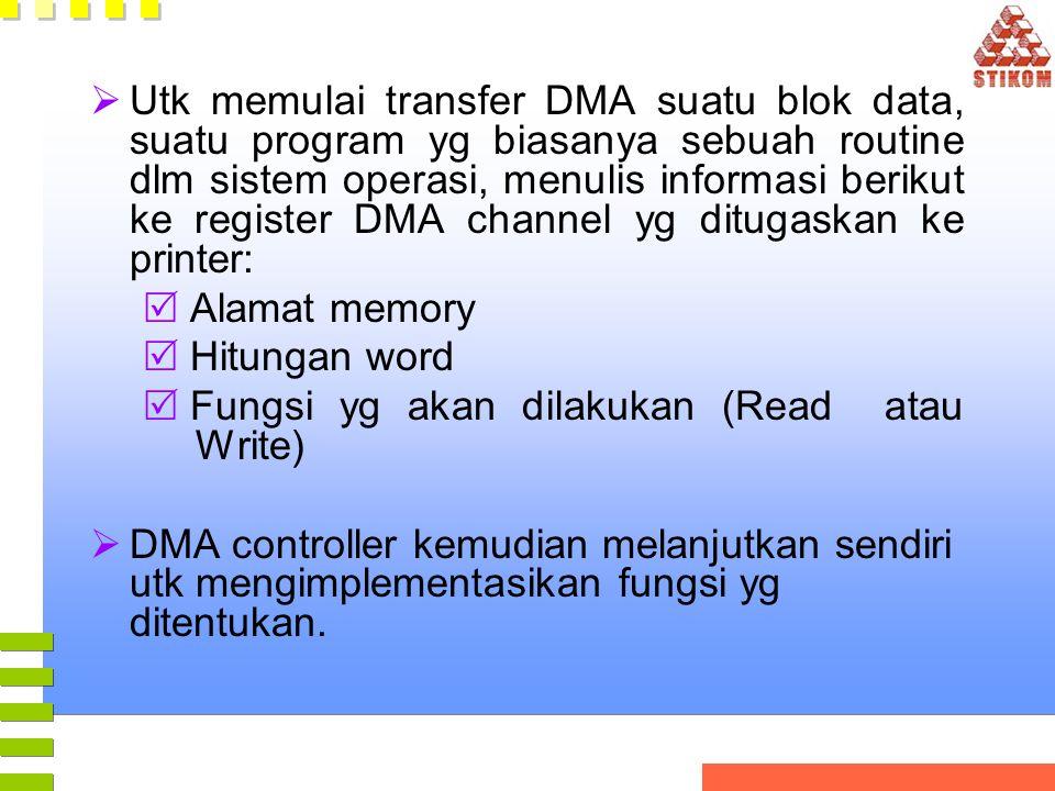  Utk memulai transfer DMA suatu blok data, suatu program yg biasanya sebuah routine dlm sistem operasi, menulis informasi berikut ke register DMA cha