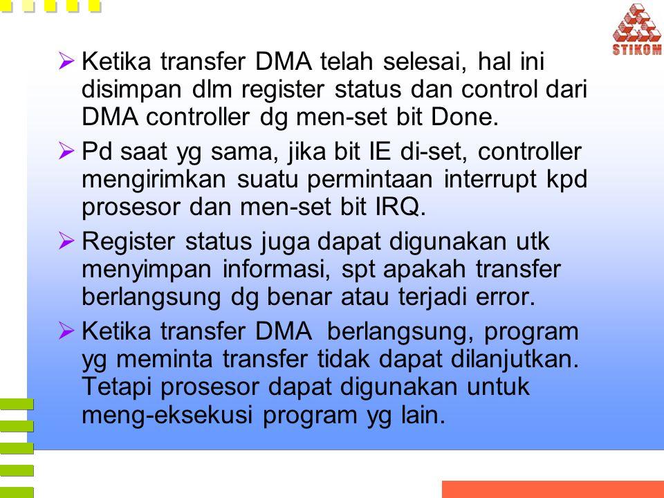  Ketika transfer DMA telah selesai, hal ini disimpan dlm register status dan control dari DMA controller dg men-set bit Done.  Pd saat yg sama, jika
