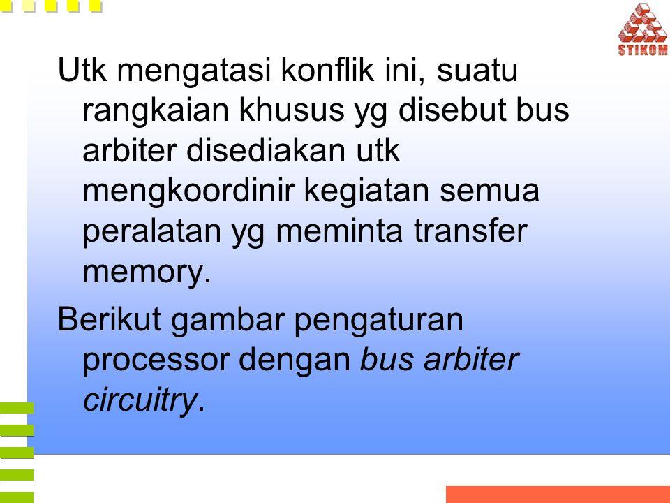 Utk mengatasi konflik ini, suatu rangkaian khusus yg disebut bus arbiter disediakan utk mengkoordinir kegiatan semua peralatan yg meminta transfer mem