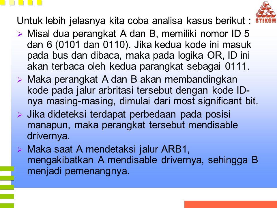 Untuk lebih jelasnya kita coba analisa kasus berikut :  Misal dua perangkat A dan B, memiliki nomor ID 5 dan 6 (0101 dan 0110). Jika kedua kode ini m