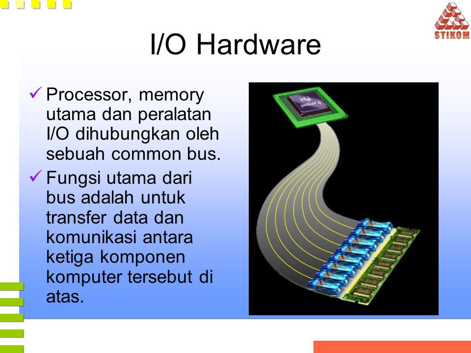 I/O Hardware Processor, memory utama dan peralatan I/O dihubungkan oleh sebuah common bus. Fungsi utama dari bus adalah untuk transfer data dan komuni