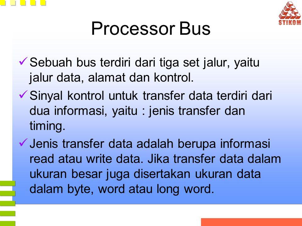 Processor Bus Sebuah bus terdiri dari tiga set jalur, yaitu jalur data, alamat dan kontrol. Sinyal kontrol untuk transfer data terdiri dari dua inform