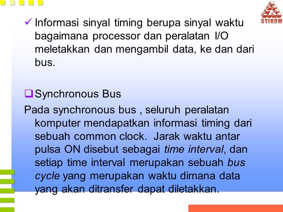Informasi sinyal timing berupa sinyal waktu bagaimana processor dan peralatan I/O meletakkan dan mengambil data, ke dan dari bus.  Synchronous Bus Pa