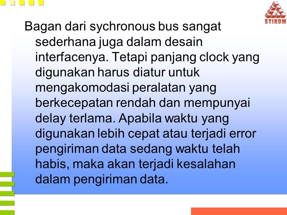 Bagan dari sychronous bus sangat sederhana juga dalam desain interfacenya. Tetapi panjang clock yang digunakan harus diatur untuk mengakomodasi perala