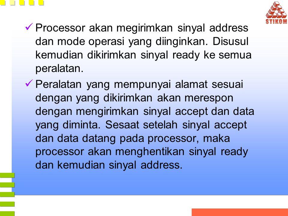 Processor akan megirimkan sinyal address dan mode operasi yang diinginkan. Disusul kemudian dikirimkan sinyal ready ke semua peralatan. Peralatan yang