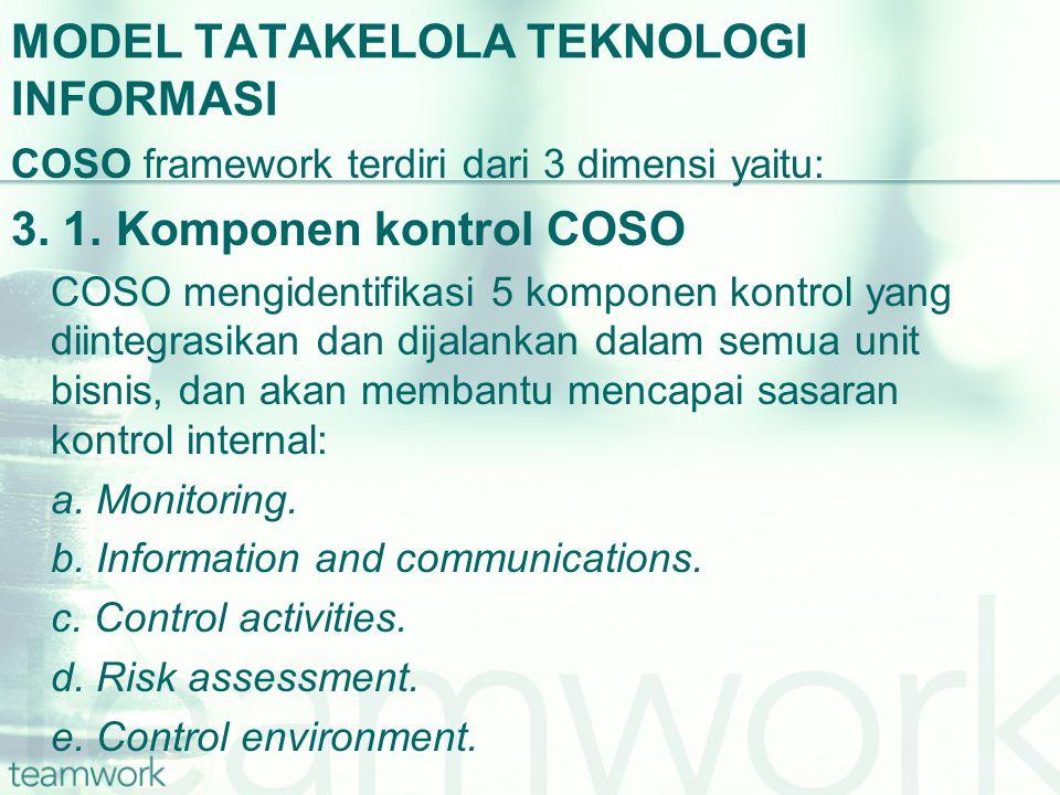MODEL TATAKELOLA TEKNOLOGI INFORMASI COSO framework terdiri dari 3 dimensi yaitu: 3. 1. Komponen kontrol COSO COSO mengidentifikasi 5 komponen kontrol