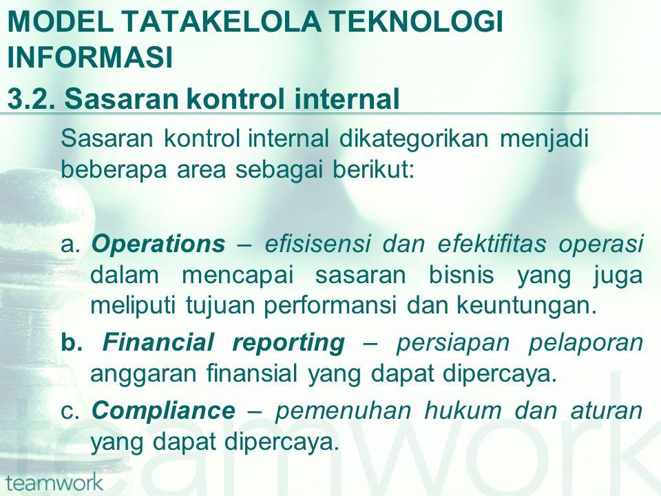 MODEL TATAKELOLA TEKNOLOGI INFORMASI 3.2. Sasaran kontrol internal Sasaran kontrol internal dikategorikan menjadi beberapa area sebagai berikut: a.Ope