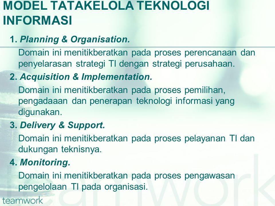 MODEL TATAKELOLA TEKNOLOGI INFORMASI 1. Planning & Organisation. Domain ini menitikberatkan pada proses perencanaan dan penyelarasan strategi TI denga