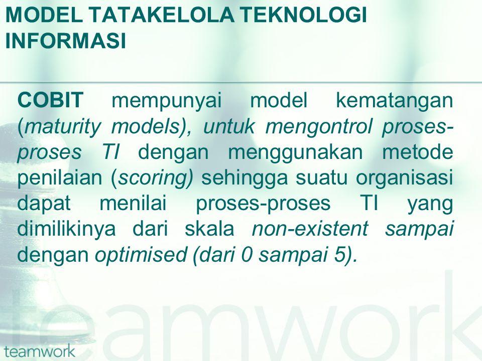 MODEL TATAKELOLA TEKNOLOGI INFORMASI COBIT mempunyai model kematangan (maturity models), untuk mengontrol proses- proses TI dengan menggunakan metode penilaian (scoring) sehingga suatu organisasi dapat menilai proses-proses TI yang dimilikinya dari skala non-existent sampai dengan optimised (dari 0 sampai 5).