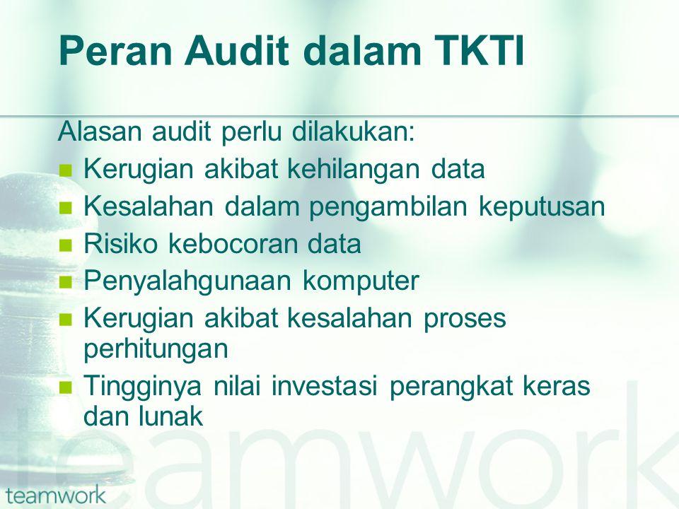 Peran Audit dalam TKTI Alasan audit perlu dilakukan: Kerugian akibat kehilangan data Kesalahan dalam pengambilan keputusan Risiko kebocoran data Penyalahgunaan komputer Kerugian akibat kesalahan proses perhitungan Tingginya nilai investasi perangkat keras dan lunak