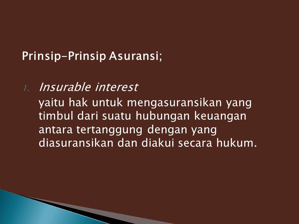 Prinsip-Prinsip Asuransi; 1. Insurable interest yaitu hak untuk mengasuransikan yang timbul dari suatu hubungan keuangan antara tertanggung dengan yan
