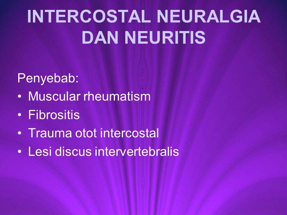 INTERCOSTAL NEURALGIA DAN NEURITIS Penyebab: Muscular rheumatism Fibrositis Trauma otot intercostal Lesi discus intervertebralis