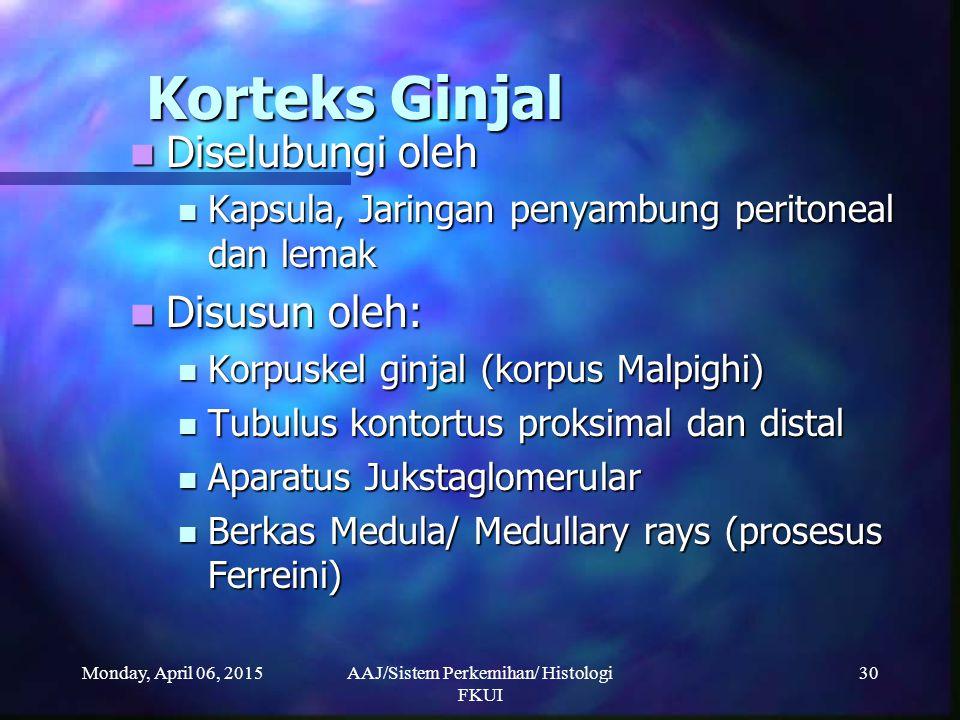 Monday, April 06, 2015AAJ/Sistem Perkemihan/ Histologi FKUI 30 Korteks Ginjal Diselubungi oleh Diselubungi oleh Kapsula, Jaringan penyambung peritonea