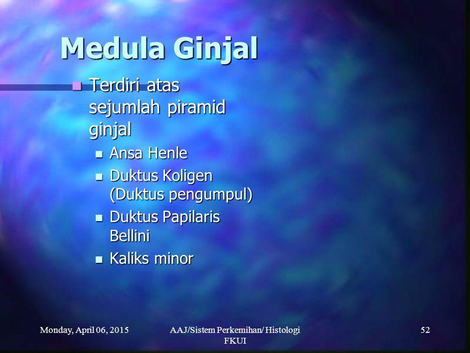 Monday, April 06, 2015AAJ/Sistem Perkemihan/ Histologi FKUI 52 Medula Ginjal Terdiri atas sejumlah piramid ginjal Terdiri atas sejumlah piramid ginjal