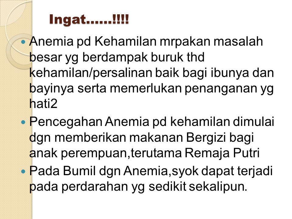 Ingat……!!!! Anemia pd Kehamilan mrpakan masalah besar yg berdampak buruk thd kehamilan/persalinan baik bagi ibunya dan bayinya serta memerlukan penang