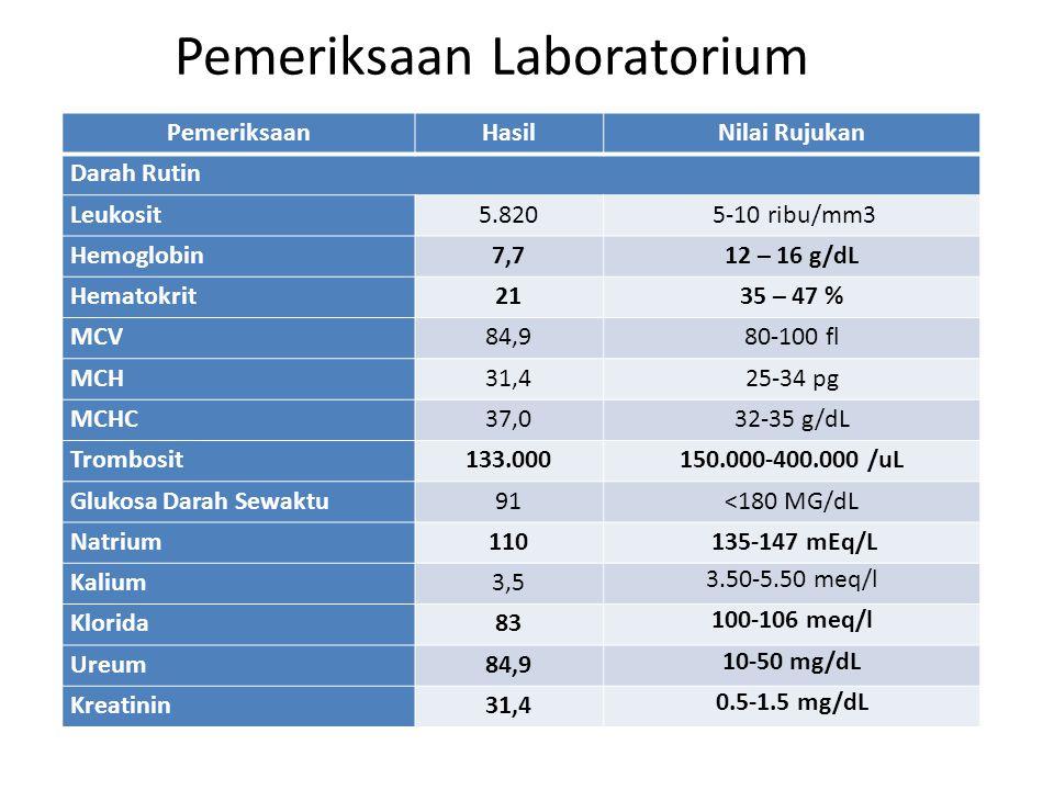 PemeriksaanHasilNilai Rujukan Darah Rutin Leukosit5.820 5-10 ribu/mm3 Hemoglobin7,712 – 16 g/dL Hematokrit2135 – 47 % MCV84,980-100 fl MCH31,425-34 pg
