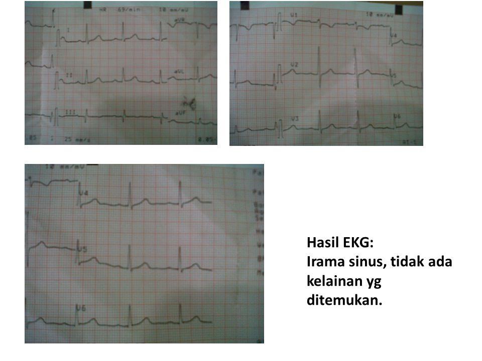 Hasil EKG: Irama sinus, tidak ada kelainan yg ditemukan.