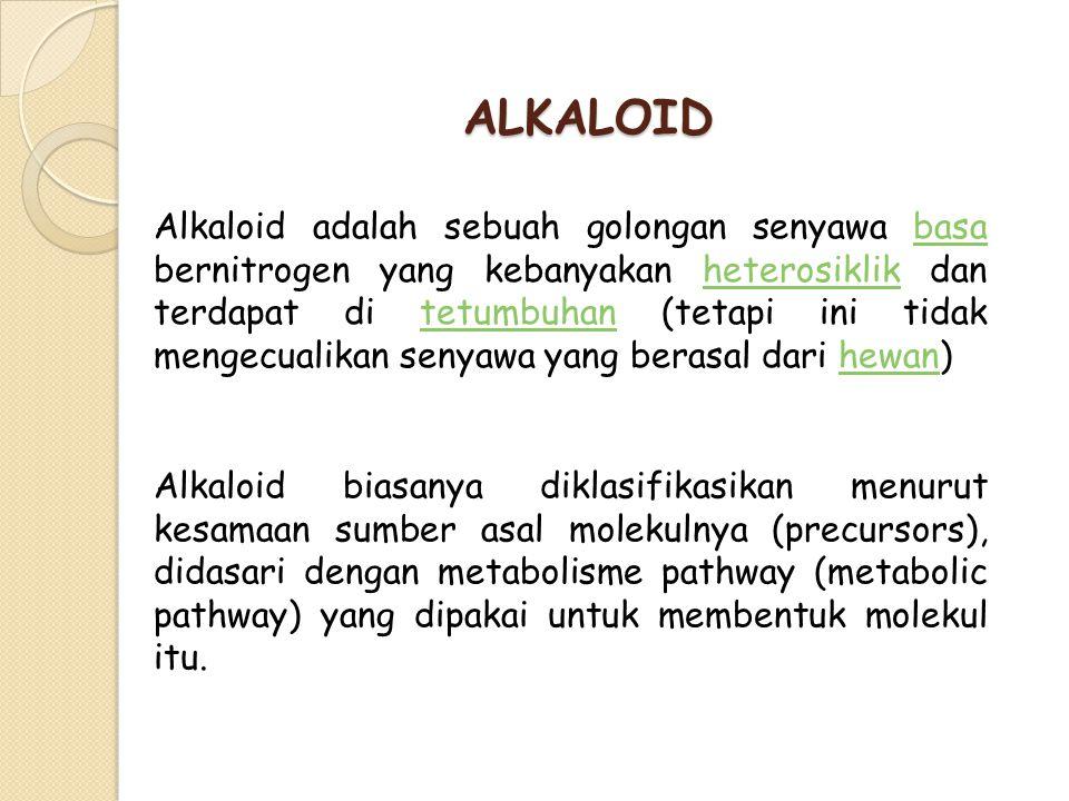 ALKALOID Alkaloid adalah sebuah golongan senyawa basa bernitrogen yang kebanyakan heterosiklik dan terdapat di tetumbuhan (tetapi ini tidak mengecuali