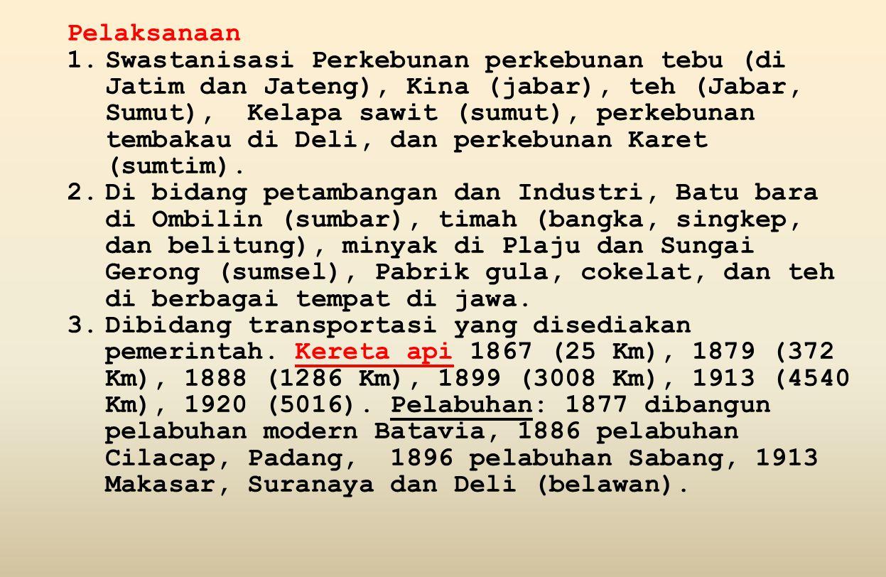 Pelaksanaan 1.Swastanisasi Perkebunan perkebunan tebu (di Jatim dan Jateng), Kina (jabar), teh (Jabar, Sumut), Kelapa sawit (sumut), perkebunan tembakau di Deli, dan perkebunan Karet (sumtim).