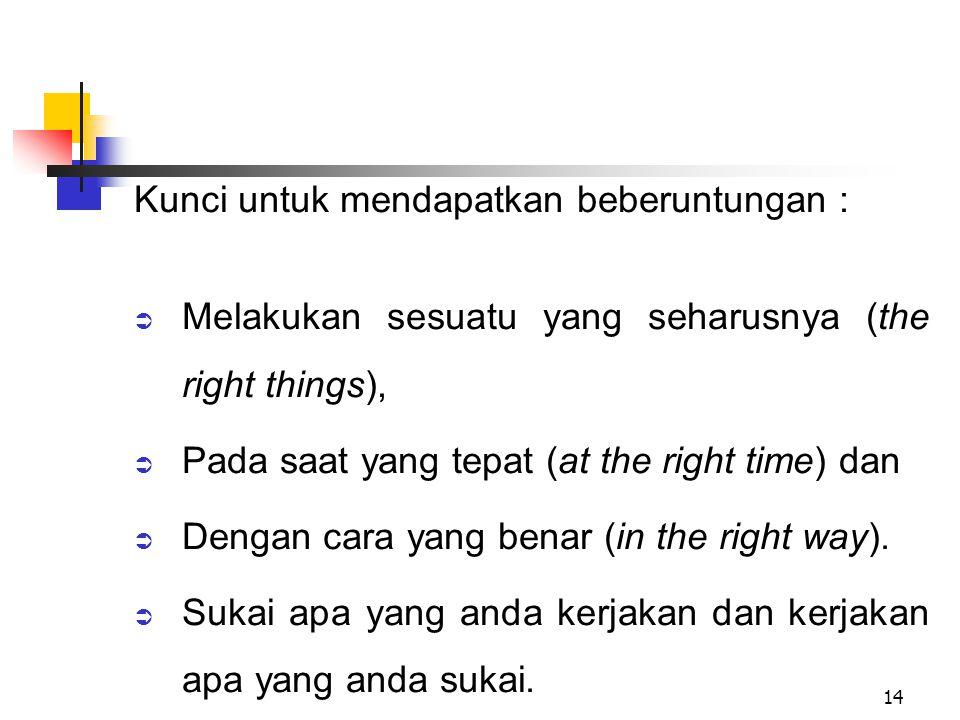 14 Kunci untuk mendapatkan beberuntungan :  Melakukan sesuatu yang seharusnya (the right things),  Pada saat yang tepat (at the right time) dan  De