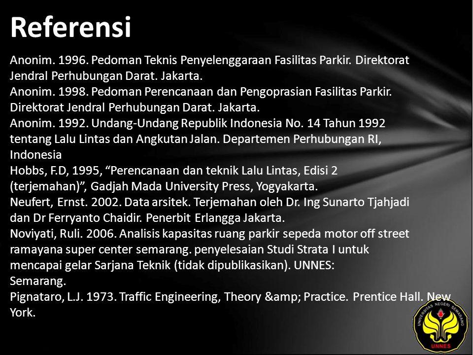 Referensi Anonim. 1996. Pedoman Teknis Penyelenggaraan Fasilitas Parkir. Direktorat Jendral Perhubungan Darat. Jakarta. Anonim. 1998. Pedoman Perencan