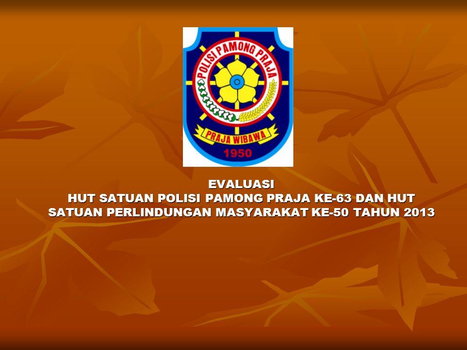 Belum semua Satuan Polisi Pamong Praja Kabupaten/Kota mengikuti HUT Satuan Polisi Pamong Praja dan HUT Satuan Linmas Tahun 2013 yang dilaksanakan di Kabupaten Pringsewu.