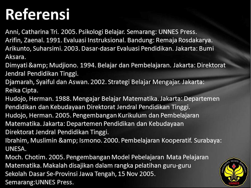 Referensi Anni, Catharina Tri. 2005. Psikologi Belajar. Semarang: UNNES Press. Arifin, Zaenal. 1991. Evaluasi Instruksional. Bandung: Remaja Rosdakary