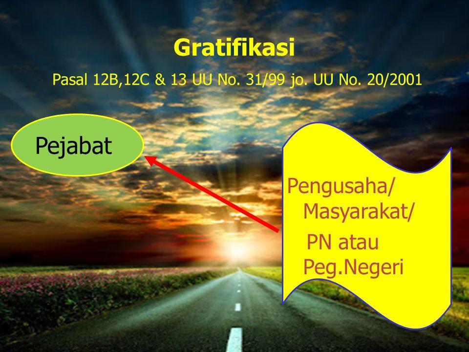Gratifikasi Pasal 12B,12C & 13 UU No. 31/99 jo. UU No. 20/2001 Pengusaha/ Masyarakat/ PN atau Peg.Negeri Pejabat