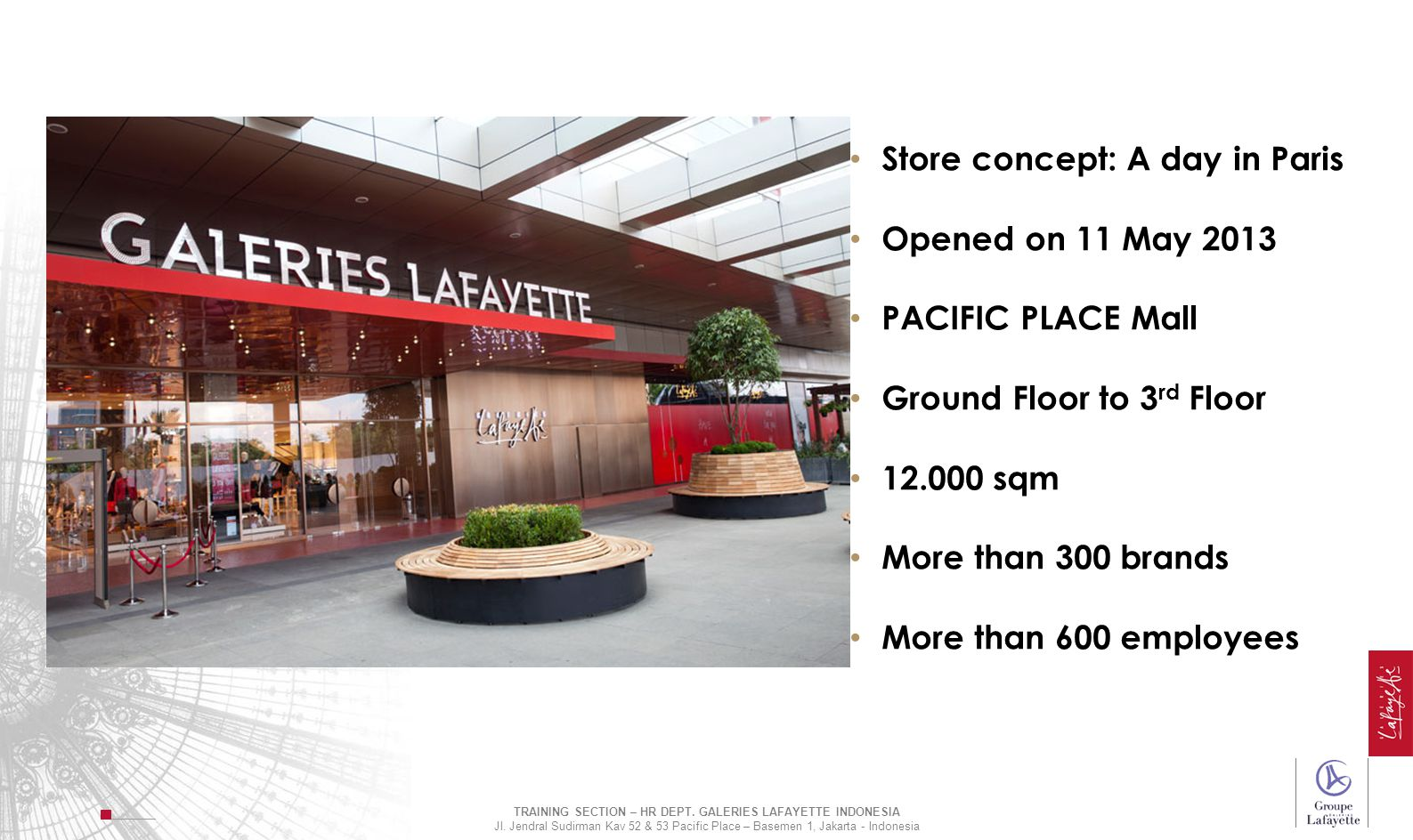 Store concept: A day in Paris Opened on 11 May 2013 PACIFIC PLACE Mall Ground Floor to 3 rd Floor 12.000 sqm More than 300 brands More than 600 employ